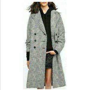 Free People menswear plaid trench coat black white